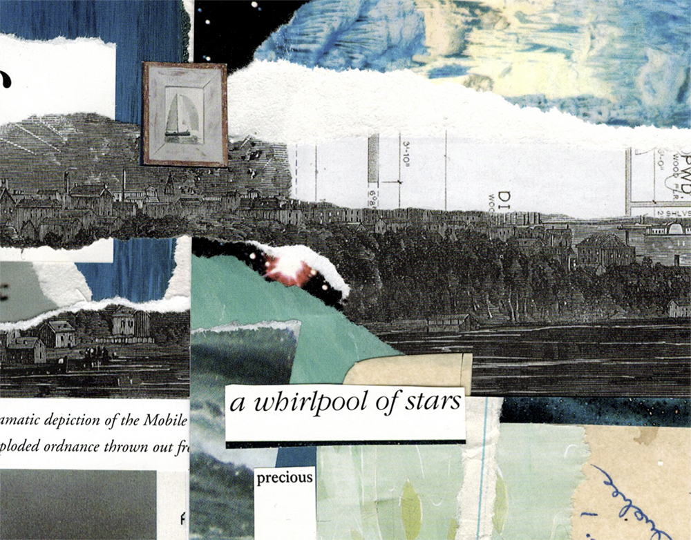 A whirlwind of stars hand cut collage art created by Vancouver artist seth macbeth