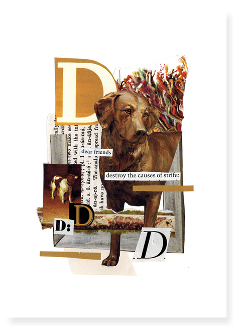 The Letter D hand cut collage art created by Vancouver artist seth macbeth