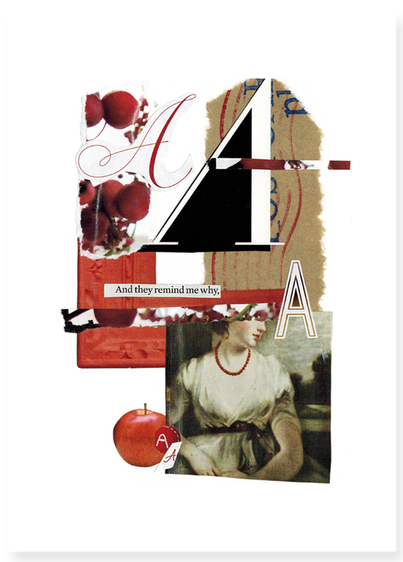 The Letter A alphabet hand cut collage art created by Vancouver artist seth macbeth