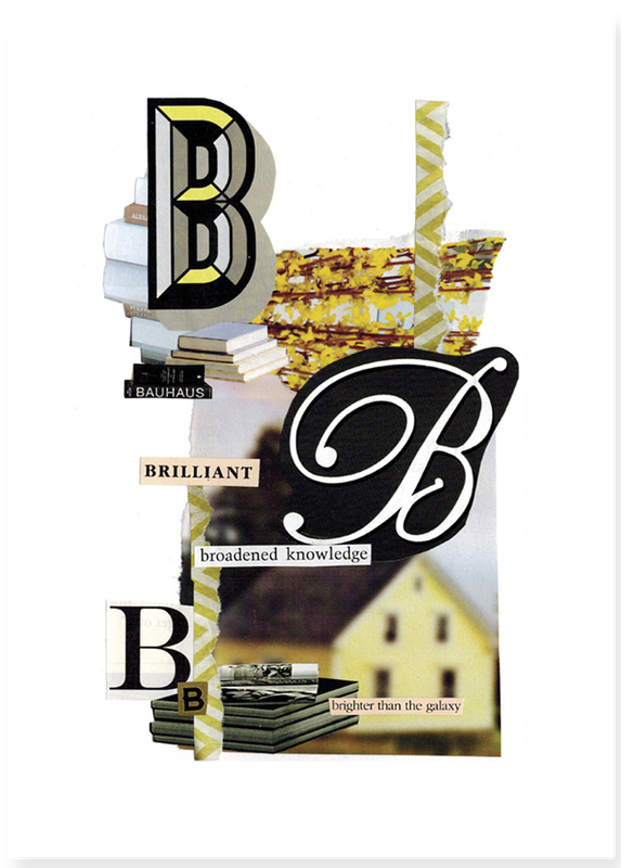 The letter B alphabet hand cut collage art created by Vancouver artist seth macbeth