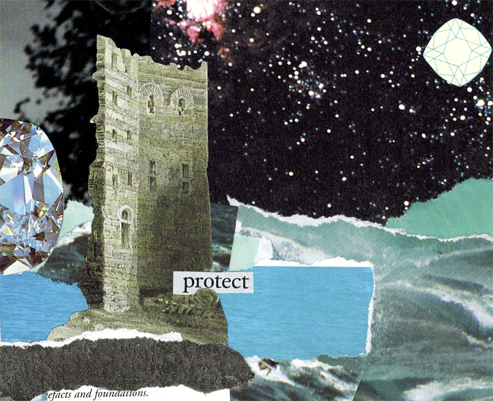Protect hand cut collage art created by Vancouver artist seth macbeth