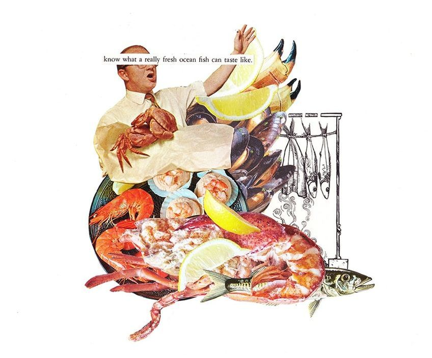 Fish art farmers market inspired hand cut collage art created by Vancouver artist seth macbeth