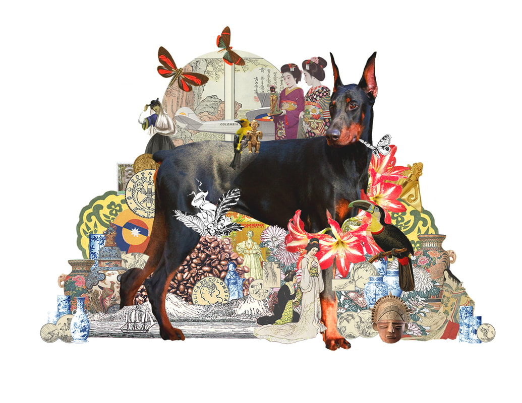 Family and the doberman dog, Japanese inspired digital collage art created by Vancouver artist seth macbeth